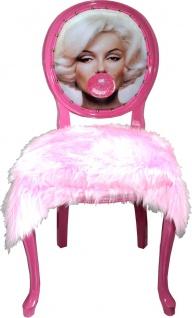 Casa Padrino Luxus Barock Esszimmer Stuhl Marilyn Monroe Bubble Gum Crazy Rosa mit Kunstfell - Handgefertigter Pop Art Designer Stuhl