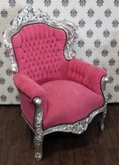 Casa Padrino Barock Sessel King Rosa/Silber