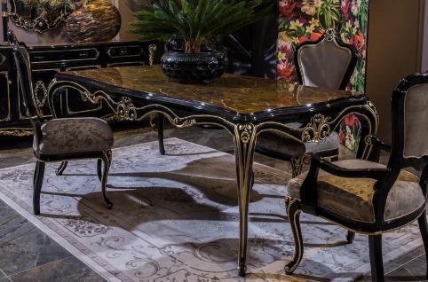 Casa Padrino Luxus Barock Esstisch Schwarz / Gold - Prunkvoller Massivholz Esszimmertisch - Barock Esszimmer Möbel - Edel & Prunkvoll