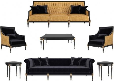 Casa Padrino Luxus Barock Wohnzimmer Set Gold / Schwarz / Antik Gold - 2 Sofas & 2 Sessel & 1 Couchtisch & 2 Beistelltische - Wohnzimmermöbel im Barockstil - Edle Barock Möbel