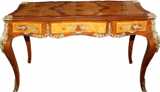 Casa Padrino Luxus Barock Schreibtisch mit 3 Schubladen Braun / Gold B 141 cm, T 71 cm - Sekretär Luxus Möbel