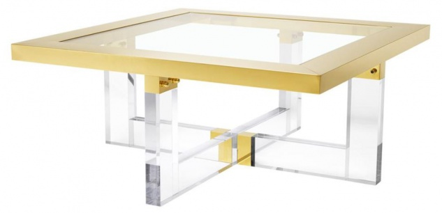 Casa Padrino Luxus Couchtisch / Wohnzimmertisch Gold 100 x 100 x H. 43 cm - Wohnzimmermöbel
