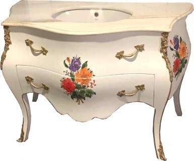 Casa Padrino Luxus Barock Waschtisch Kommode Weiß / Blumenbemalung mit Marmorplatte - Luxus Barock Badezimmermöbel