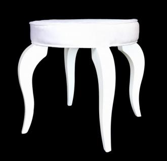 Casa Padrino Barock Sitzhocker Weiß / Weiß - Designer Rundhocker - Luxus Qualität