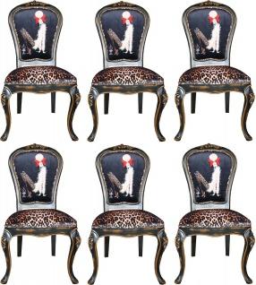 Casa Padrino Luxus Barock Esszimmer Set Dame mit High Heels Leopard / Schwarz / Braun 50 x 50 x H. 110 cm - 6 handgefertigte Esszimmerstühle - Barockmöbel