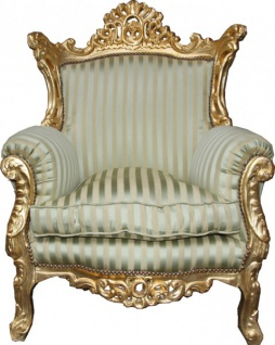 Casa Padrino Antik Stil Sessel Al Capone Mod2 Jadegrün / Beige / Gold 85 x 65 x H. 127 cm - Barockmöbel
