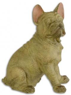 Casa Padrino Deko Skulptur Französische Bulldogge Beige / Rosa 19, 5 x 28, 1 x H. 35, 4 cm - Kunstharz Dekofigur