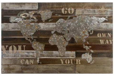 Casa Padrino Luxus Deko Wandbild Weltkarte Mehrfarbig 120 x H. 80 cm - Wanddekoration aus Holz und Metall