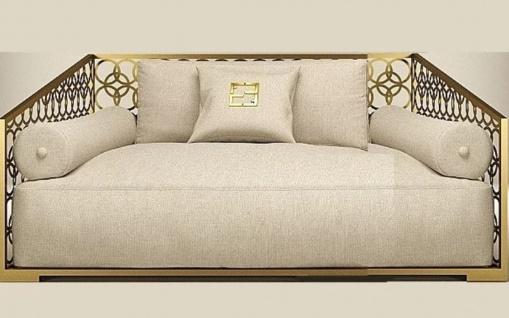 Casa Padrino Luxus 2er Sofa Elfenbeinfarben / Champagner-Gold 250 x 109 cm - Handgefertigtes Sofa mit Kissen - Wohnzimmer Sofa - Garten Sofa - Terrassen Sofa - Hotel Möbel - Luxus Qualität