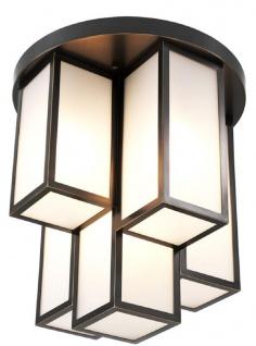 Casa Padrino Luxus Deckenleuchte Bronze / Weiß Ø 50 x H. 53, 5 cm - Luxus Qualität