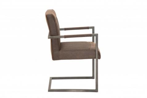 Casa Padrino Designer Freischwinger Stuhl aus Echtleder Vintage Braun - Esszimmerstuhl - moderner Wohnzimmerstuhl - Vorschau 2