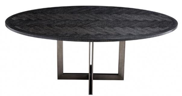 Casa Padrino Luxus Esstisch Schwarz / Bronze 200 x 120 x H. 76 cm - Ovaler Küchentisch - Luxus Esszimmer Möbel - Vorschau 3