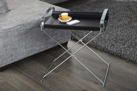 Casa Padrino Designer Beistelltisch mit abnehmbaren Tablett - Servier Tisch - Beistell Tisch Bar Tisch Schwarz / Chrom