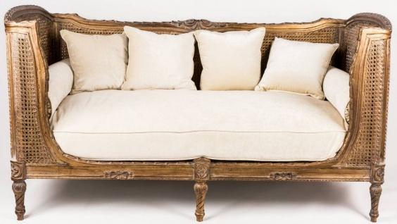 Casa Padrino Luxus Barock Sofa mit Kissen Braun / Elfenbeinfarben 187 x 89 x H. 103 cm - Handgefertigtes Sofa im Antik Stil - Wohnzimmer Möbel