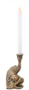 Casa Padrino Luxus Kerzenhalter Koi Karpfen Fisch Vintage Messingfarben 17, 5 x 12, 5 x H. 20, 5 cm - Messing Kerzenständer - Deko Accessoires - Vorschau 4