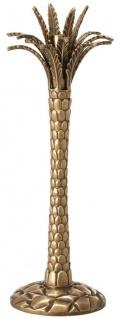 Casa Padrino Luxus Kerzenhalter Vintage Messingfarben Ø 13 x H. 36 cm - Handgefertigter Messing Kerzenständer im Palmen Design - Luxus Accessoires - Vorschau 2