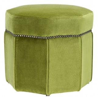 Casa Padrino Luxus Hocker Hellgrün / Antik Messingfarben 46 x 46 x H. 44 cm - 8 eckiger Sitzhocker - Luxus Möbel