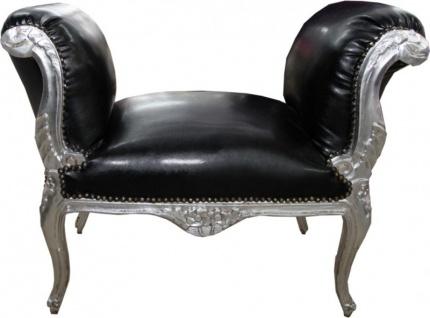 Casa Padrino Barock Schemel Hocker Schwarz Lederoptik / Silber - Antik Stil Möbel Sitzbank