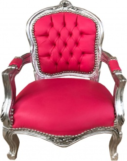 Casa Padrino Barock Kinder Stuhl Pink Lederoptik / Silber - Kindermöbel