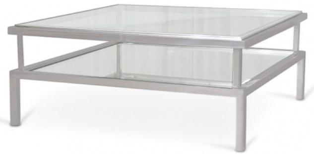 Casa Padrino Luxus Couchtisch Silber 120 x 120 x H. 42 cm - Moderner Wohnzimmertisch mit gehärteten Glasplatten und Edelstahl Gestell - Wohnzimmer Möbel