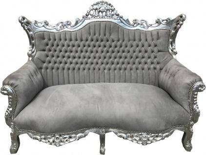 Casa Padrino Barock 2-er Sofa Master Grau / Silber - Antik Stil Möbel