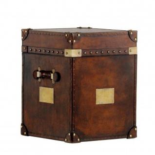 Casa Padrino Luxus Koffer Schrank Truhe Vintage Leder Braun - Art Deco Barock Jugendstil Kofferschrank Nachtschrank