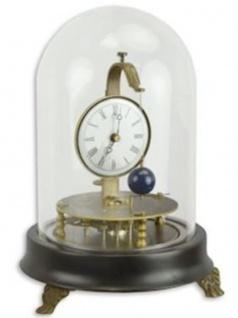 Casa Padrino Jugendstil Tischuhr mit Glasglocke Schwarz / Messingfarben Ø 15, 3 x H. 20, 9 cm - Dekorative Schreibtischuhr - Deko Accessoires