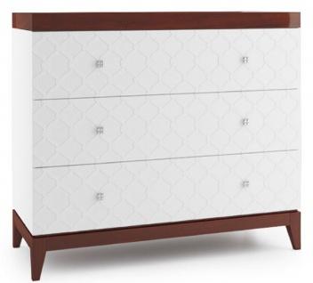 Casa Padrino Luxus Kommode mit 3 Schubladen Weiß / Hochglanz Braun 111, 2 x 45 x H. 96, 6 cm - Luxus Qualität