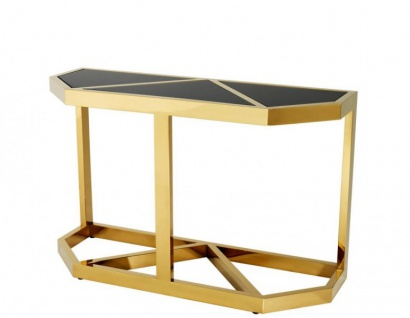 Casa Padrino Luxus Konsole Gold mit schwarzem Glas - Konsolen Tisch Möbel