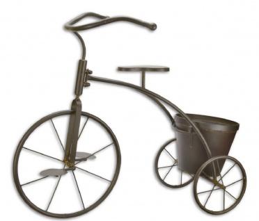 Casa Padrino Deko Fahrrad mit Blumentopf Braun 78, 3 x 39 x H. 65, 3 cm - Gartendeko