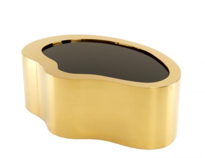 Casa Padrino Art Deco Luxus Couchtisch Gold 110 x 76 x H. 38 cm - Wohnzimmer Salon Tisch - Limited Edition