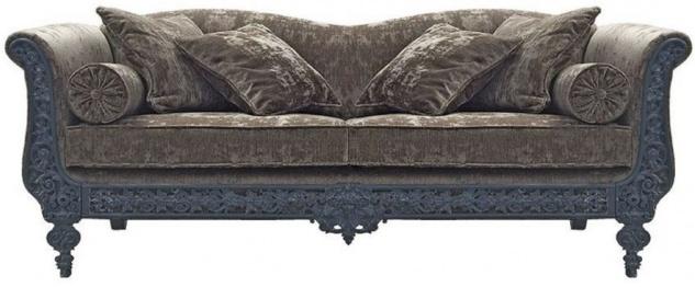 Casa Padrino Luxus Barock Sofa Grau / Blau 220 x 100 x H. 80 cm - Handgeschmiedetes Schmiedeeisen Sofa mit Kissen - Wohnzimmer Sofa - Garten Sofa - Terrassen Sofa - Barock Möbel
