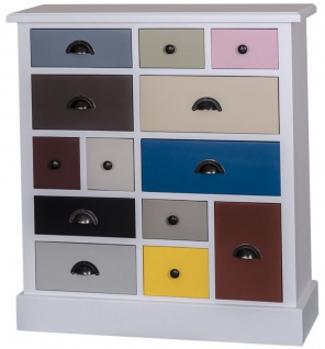 Casa Padrino Landhausstil Kommode Mehrfarbig 90 x 35 x H. 97 cm - Luxus Qualität