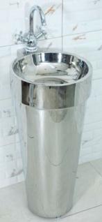 Casa Padrino Luxus Edelstahl Waschtisch Silber 40 x H. 86 cm - Badezimmer Möbel - Hotel & Restaurant Kollektion - Luxus Qualität