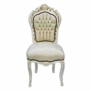 Casa Padrino Barock Esszimmer Stuhl Creme / Creme Lederoptik