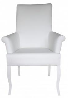 Casa Padrino Esszimmer Stuhl Weiß / Weiß Kunstleder mit Armlehnen - Barock Möbel