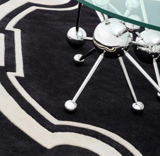 Casa Padrino Luxus Designer Teppich Schwarz / Weiß Durchmesser 280 cm - Limited Edition - Vorschau 4