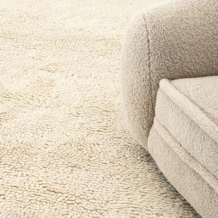 Casa Padrino Luxus Teppich aus Neuseeland Wolle Beige - Verschiedene Größen - Handgetufteter Wohnzimmerteppich - Luxus Wohnzimmer Deko Accessoires