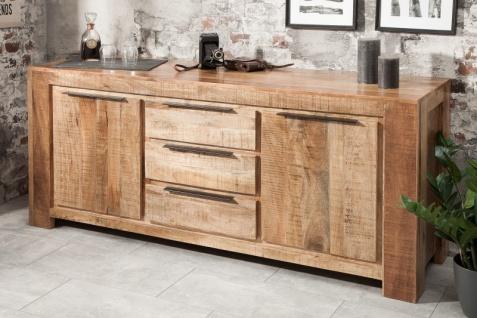 Casa Padrino designer Kommode 174 x 50 x H.76cm - Fernsehschrank - Sideboard - Handgefertigt aus Massivholz - Unikat! - Vorschau 2