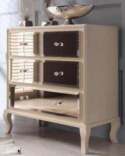 Casa Padrino Luxus Neoklassik Kommode mit 3 verspiegelten Schubladen Cremefarben 100 x 50 x H. 103 cm - Luxus Qualität