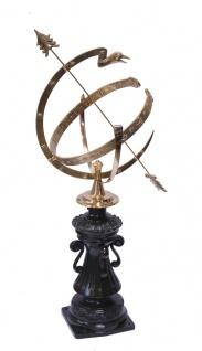Casa Padrino Jugendstil Sonnenuhr Antik Stil Gussmetall H 105 cm - Schloss Sonnen Uhr - Luxus Garten Dekoration