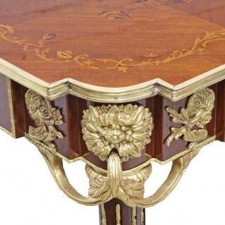 Casa Padrino Barock Beistelltisch Mahagoni Intarsien / Gold H75 x 50 cm - Ludwig XVI Antik Stil Tisch - Möbel - Vorschau 2