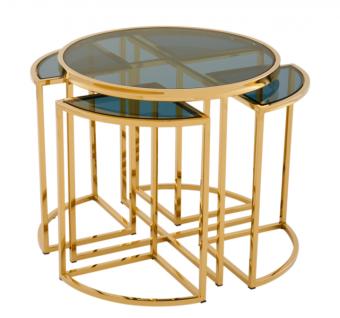 Casa Padrino Luxus Art Deco Designer Beistelltisch 5er Set Gold mit Rauchglas - Luxus Qualität