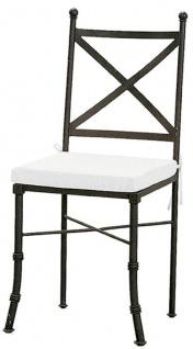 Casa Padrino Luxus Jugendstil Gartenstuhl mit Sitzkissen Schwarz / Weiß 40 x 44 x H. 99 cm - Handgeschmiedeter Esszimmer Stuhl - Esszimmer Garten Terrassen Möbel