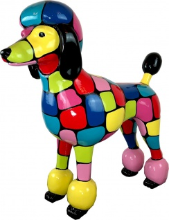 Casa Padrino Designer Gartendeko Skulptur Pudel Hund Bunt 64 x H. 63 cm - Gartendeko Figur - Wetterbeständige Gartenfigur - Dekorative Tierfigur