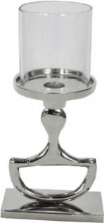 Casa Padrino Kerzenständer mit Glas Horse Bit Vintage Design Aluminium Horsebit