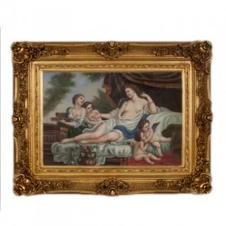 Handgemaltes Barock Öl Gemälde Familien Bildniss Gold Prunk Rahmen 130 x 100 x 10 cm - Massives Material