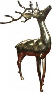 Casa Padrino Designer Deko Hirsch Gold 32 x 17 x 49cm - poliertes Aluminium - Figur Skulptur