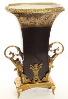Casa Padrino Barock Blumenvase Schwarz / Gold 28 x 19, 4 x H. 41 cm - Prunkvolle Vase im Barockstil