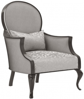 Casa Padrino Luxus Barock Wohnzimmer Sessel mit elegantem Muster Silber / Grau / Schwarz 80 x 70 x H. 103 cm - Wohnzimmer Möbel im Barockstil